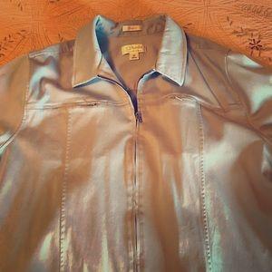CJ Banks baby blue zippered jacket w pockets.